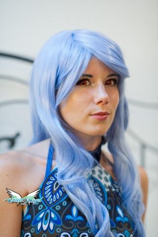 red lenses blue wig